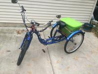 This Blue Schwinn Electric Powered Trike has been made