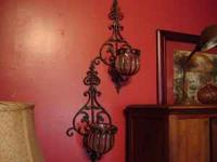 "Sconces (2) - Each measures 21 3/4 tall"" x 10 3/4"""