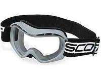 Grey colored Scott brand goggles with the red tinted