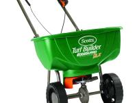 Use the Scotts Turf Builder Edge Guard DLX 15,000 sq.