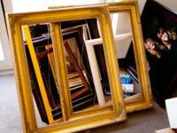 Over 25 large portrait frames with scratches and dents