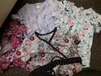 Printed scrub tops good condition! text # 4 for $20.