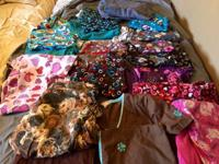 Many scrub tops, some pants. Mostly small - some