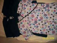 *3 navy blue tops size small, 1 flowered print size