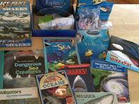 Huge Lot of Sea activites & books. Cast & Paint Sharks!