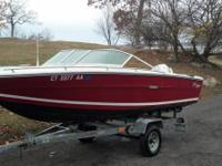 18 Foot Sea Ray. Good intense red paint job. Bottom