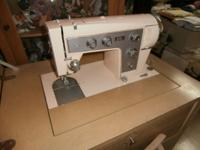 Sears Kenmore Sewing Machine plus Blonde Cabinet and