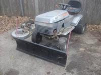 sears tractor 12 hp mower deck and snow plow $100 00