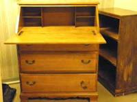 Solid wood desk with fold down surface. Also 3 drawers.
