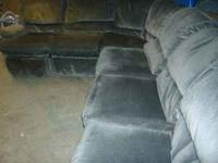 Sectional. measures 15' in a curve. Has a recliner and