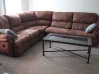 Gently used, very comfortable, micro suede sectional