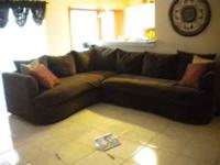 Like new 2 pc. Dark Brown Sectional w/queen size