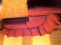 Selling a red microfiber sectional that we initially