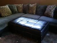 Good condition comfy, roomy sectional with ottoman. Due