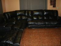 Sectional Leather Color is coffee bean looks black with