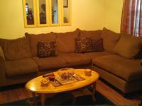 sectional sofa dark brown/gold