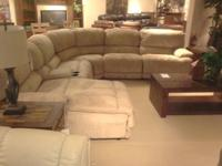 Sectional sofa, one power recline section and two