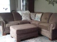 Quality sectional couch and ottoman manufactured by