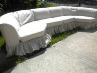 BERNHARDT SECTIONAL COUCH-OFF WHITE-COASTAL CHIC-BEACH