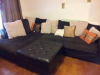 Selling a brown cloth/leather sectional sofa w/ ottoman