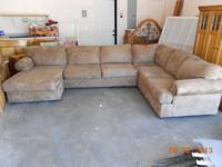 Light brown 3 piece sectional with chaise lounge piece