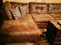 2 piece Microfiber chocolate brown sectional. Only 2