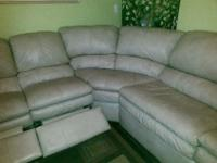 3-piece Sectional Sofa, Taupe, 2-recliners & Queen Size