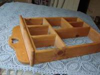 For sale is a very nice sectioned wood display shelf.