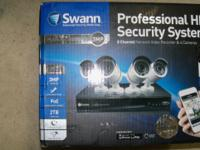 SWAN 8 CHANNEL HOME SECURITY SYSTEM. HAS 4 EACH 3MP