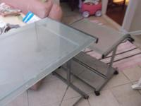glass desk with matching printer desk $50, pink boots