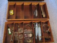 "SEMCO VINTAGE WOODEN FISHING TACKLE BOX 16 x 9 x 11"""