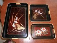 Set of 3 serving trays for sale, I am asking $10.00. If