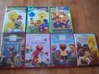 Here are 7 different Sesame Street and Elmo DVDs. They