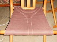 SET OF THREE MAPLEWOOD FOLDING CHAIRS WITH BROWN CANVAS