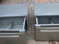 TWO LG gray stainless color metal pedestals with