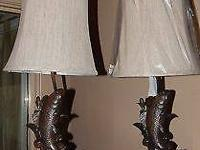 Set of (2) Sable Fish Table Lamps with shades - Like