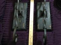"Set of (2) Metal & Wood Sconces 18"" Tall x 6"" Deep at"