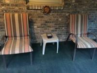Set of 2 patio chairs with removable reversible covers