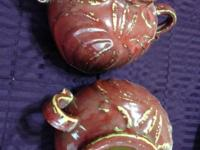 "Set of (2) Red Deco Ceramic Pots 7"" Tall x 12' Wide"
