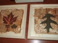 Set of 2 Leap Print Wall Pictures Distressed Off-White