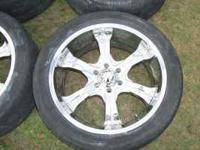 "Im selling a set of 22"" bazo b26 chrome rims with"