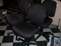 (Set of 3) Chocolate Brown print office chairs.