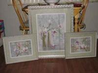 "Matching set of 3 ""Home Interiors"" framed and matted"