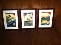 3 nice custom framed classic Japanese Art prints in
