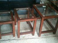 Set of 3 dark wood nesting tables with glass top
