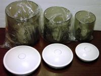 Listed is a set of 3 Snail vacuum canisters (with lids