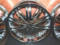 "BIGG 22"" Chrome Rims GREAT CONDITION Complete Set, 4"