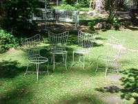 Set of 4 Shabby Vintage white wrought iron chairs