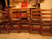 Great set of 5 Gustav Stickley oak dining chairs