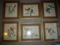 SET OF 6 ORIGIONAL BIRD PRINTS BY ARTIST SHERM PEHRSON